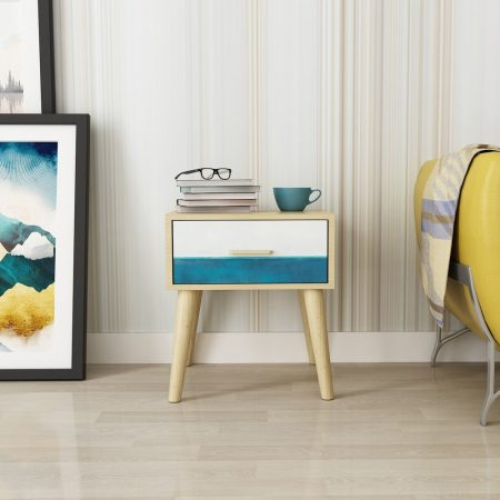 Mare Wooden bedside/side Table in Oak laminate with matching edge band and Wallpaper Print with 300mm telescopic channel for drawer, table for bedroom and Living Room with one drawer in Acacia wooden 4 legs and handle