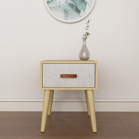 Muro Wooden Side Table with Compact design and Engineered wood with Oak laminate and Wallpaper Print bedside/side table for bedroom and Living Room in one drawer with Acacia wooden 4 legs and handle
