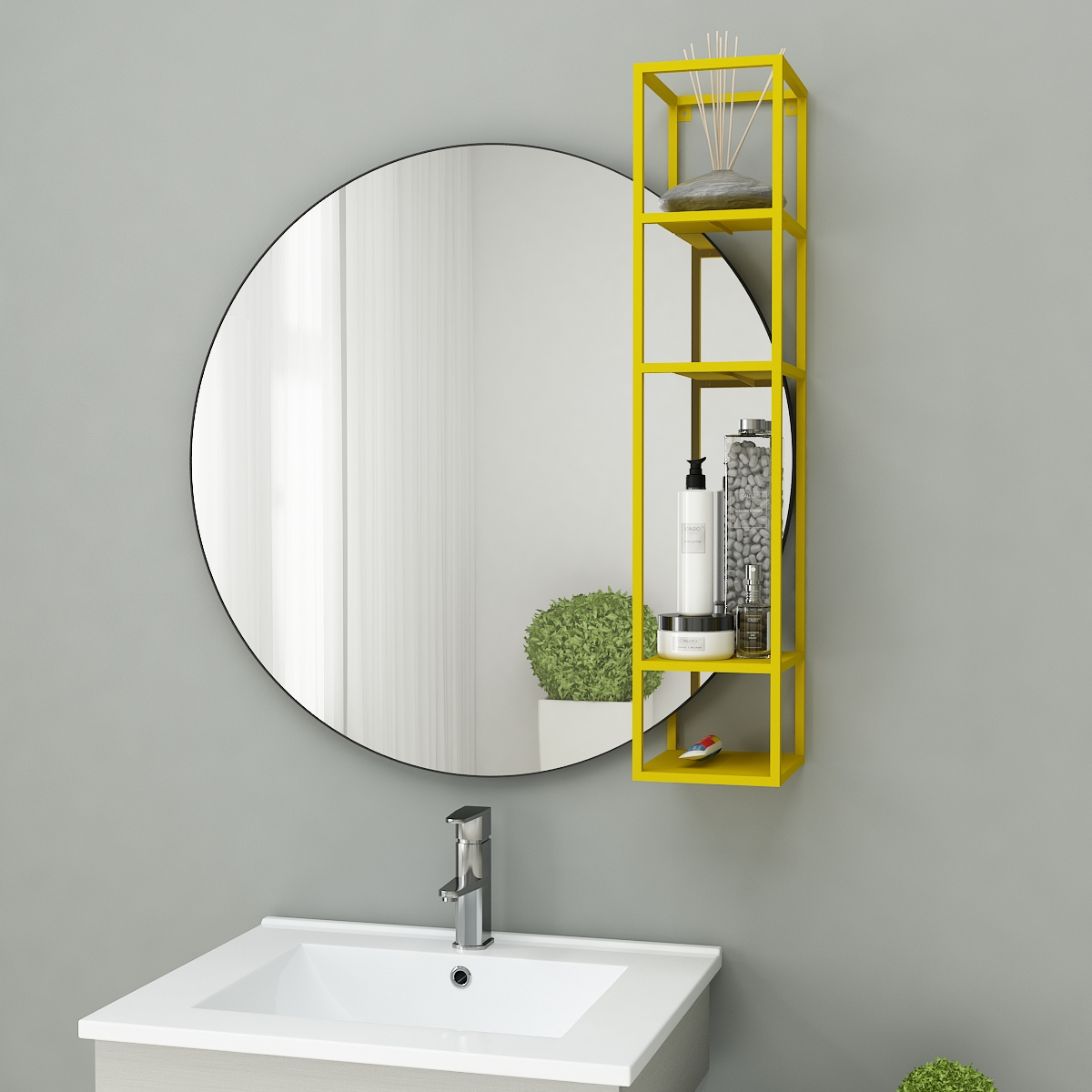Wall mirror with storage