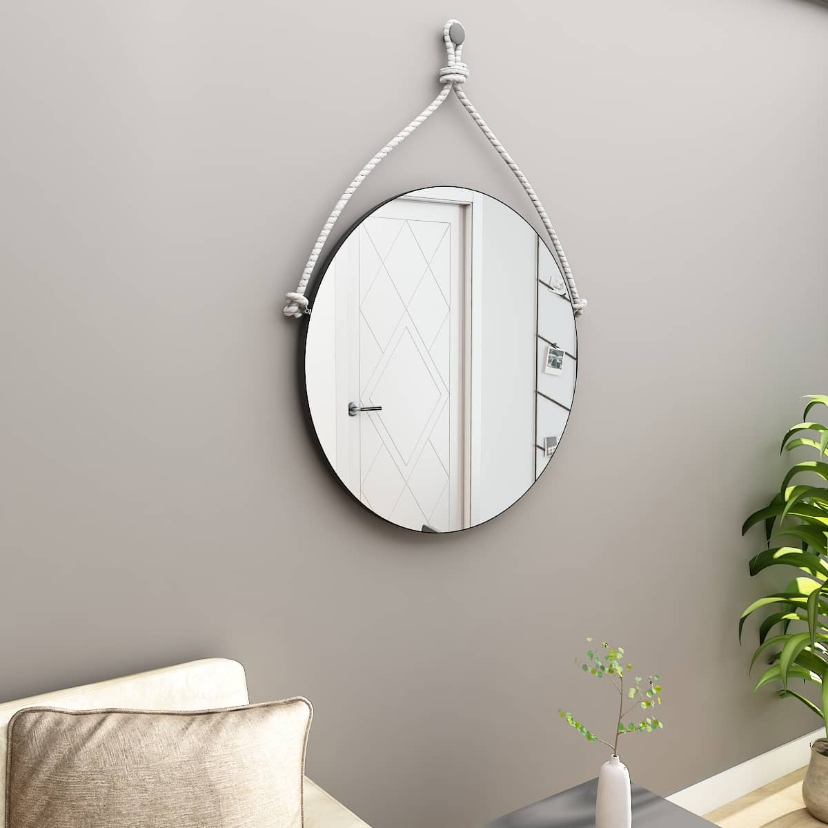 Hanging mirror with rope