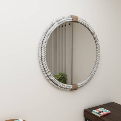 Mirror with rope frame