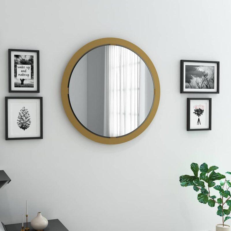round mirror brass frame