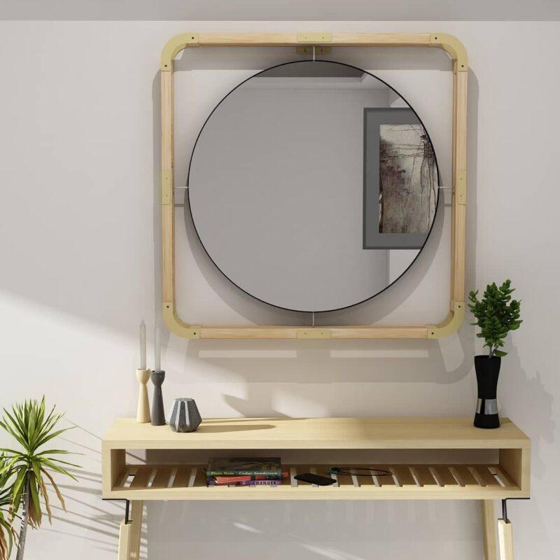 round mirror wood frame