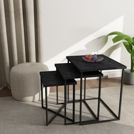 Buy Black Regal Nesting Tables combine the elegance of stone with marble laminate gives it the premium and bold look