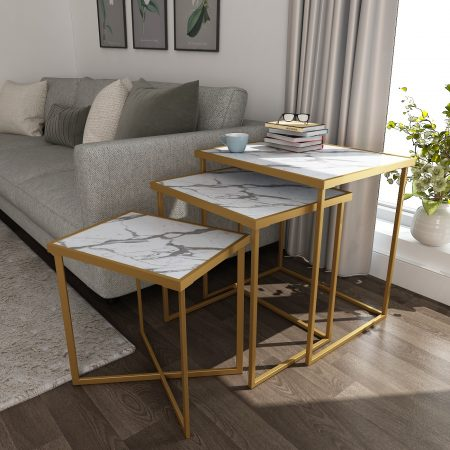 Buy Regal Nesting Tables in silver or gold finish which give it the premium and classy look