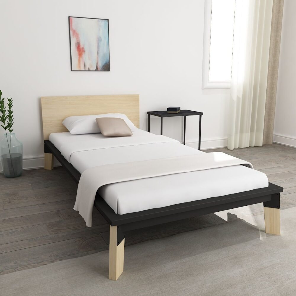 Modern design single bed online in indiawhite   mohh