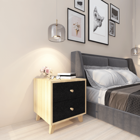 WB Side table Black Medium Size Wooden bedside/side table for bedroom and Livingroom in double2 drawers with four lags
