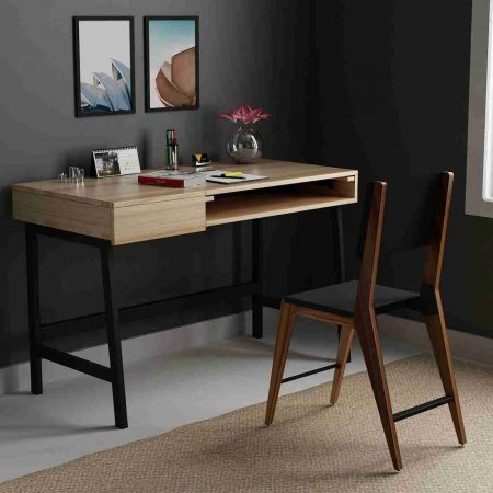 Buy an Ascent wooden side table metal legs multi-purpose table working while sitting and standing performing hydraulic hinge classic study table with ample storage