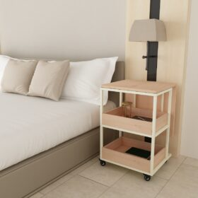Buy a Stanzee C wooden side table console work desk comfortably on your bed innovative ample storage space saving side space look classy
