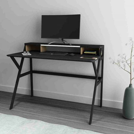 Buy a Twain Study Table wooden side with black legs LED lightlamp built in it and a dedicated space side for storing stationary
