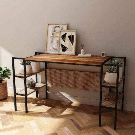 Buy a Vimini greenery indoors wooden side table metal legs with side storage options to add plants books etc