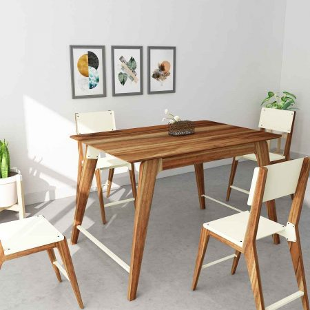 Buy a wooden kitchen side table classic design showcases the beauty and elegance of acacia wood metal joineries with four chair to fit any home area