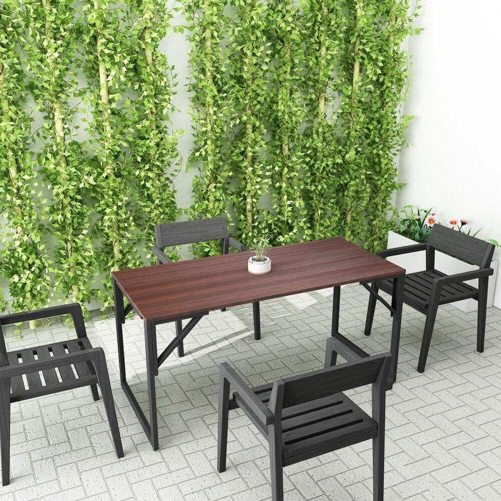 Buy a wooden side folding table outdoor with four black chair ease meets fold and stow is away space saving Clean with chair acacia wood blending