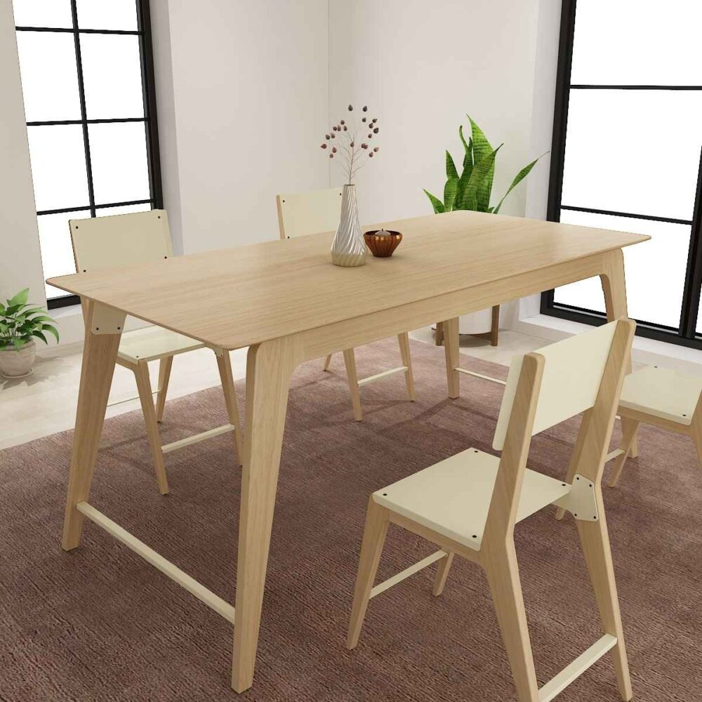 Buy a wooden side table modern classic design in a soothing wood finish Ashwood with metal joineries uplifting dining space solid grains and shades fabric colors polish