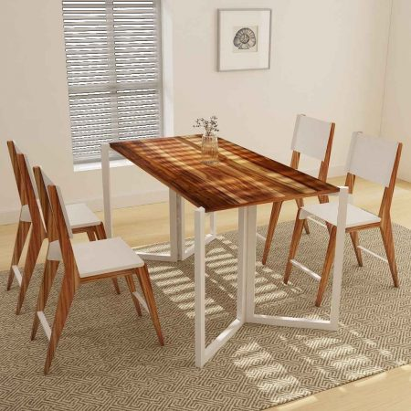 Buy a wooden side table set combo with four chairs for living room side space classic white color and brown shade of table