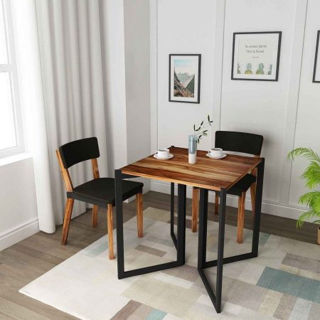 Buy a wooden side table with black legs space saving dining studying Simply collapse with two chairs Straight yet edgy.