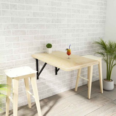 Buy a wooden side table with shelf love space saving wall mounted dining studying or dressing purposes simply collapse with two chairs perfect for apartment living