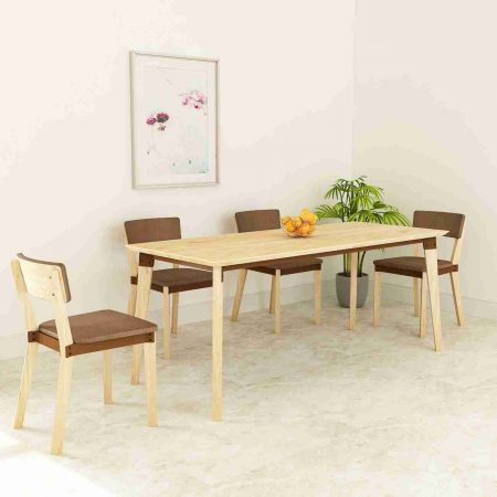 Buy a wooden side table for living room space saving dining studying Lighter brighter modern classic aesthetic slightly damp soft microfiber cloth with brown color chair